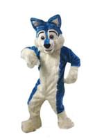fantasia azul vestidos venda por atacado-2018 Alta qualidade Azul Husky Dog Traje Da Mascote Fox Fox Fantasia Vestido de Festa Trajes de Halloween Tamanho Adulto