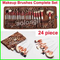 Wholesale powder eyeliner pencil - Makeup Brushes 24 piece Leopard Set Rose Gold Brush Face and Eye Brushes kit Eyeshadow Eyeliner Pencil Makeup Powder Foundation Brush