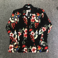 Wholesale casual men s shirts flowers for sale - 18SS Rhude a Quality Women Men Long Sleeve Parrot Flowers Printed Shirts Hiphop Hiwaii Style Men Casual Shirts Beach Shirts