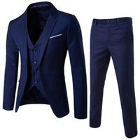 drei anzug für männer großhandel-Mens Blazers Pants Vest Set 2018 neue Männer dreiteilige Sets männlichen Business Casual Kleidung Slim Blazer Jacke Hose Weste Anzug S18101902