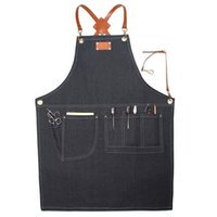 фартуки оптовых-Denim Apron Uniform Unisex Adult Aprons For Woman Kitchen Cooking Gardening Floral Restaurant Coffee Shop Handmade Workers