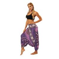 брюки свободные промежности оптовых-Yoga Pants Women Loose Lantern  Nepalese Thai Style Big Crotch Comfy Leisure Trousers Quick Dry Workout High Waist Legging