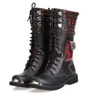 kampf schuhe mode großhandel-OUDINIAO Drop Shipping Schuhe Männer Schnalle Schnürung Hohe Kampfstiefel Mode Herren Schuhe Britischen Metall Motorradstiefel