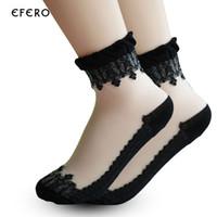 носки для тапочек оптовых-10Pair Summer Invisible Socks No Show Boat Socks For Woman Girls Lace Art Chaussettes Femme Meias Slipper Sock
