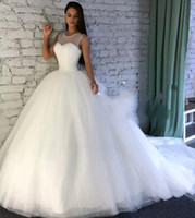 Wholesale sparkle tulle princess wedding dresses resale online - Sparkling Wedding Dresses With Sheer Jewel Neckline Sequins A Line Wedding Dress With Count Train Custom Made Bridal Gowns Plus Size