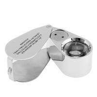 levou lupa portátil venda por atacado-All-Metal Magnifier LED Moeda Detectando Jóias Tipo de Identificação 40X25 MM Jewel Iluminando Lupas Portátil handheld Microscópio NO.9890