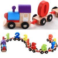 Wholesale Build Wooden Train - Wooden Digital Train Assembled Building Blocks Kid Educational Toy Toy Bricks For Children Birthday Gift 18jx C R