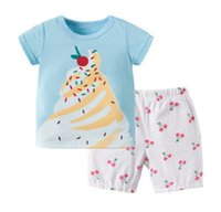 Wholesale cherry t shirt - Girls ice cream printed T-shirts 2018 boutique children cotton short sleeve tops+cherry polka dots printed casual shorts 2pcs sets Y5026