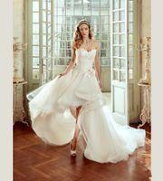 2018 Organza Removable Skirt Hi Lo Princess Wedding Dress Handmade Flower Lace Tulle Short Front Long Back A Line Castle Bridal Gowns Modern