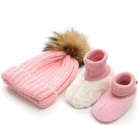 sapatos de bebê tricô crochet venda por atacado-Recém-nascidos Fotografia Adereços Bebê Meninos Meninas Chapéu De Malha Sapatos de Bebê Sola Macia Crochet Malha Roupas Acessórios Traje Outfit