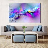 pinturas abstractas de buda al por mayor-JQHYART Wall Pictures For Living Room Pintura Al Óleo Abstracta Nubes Colorido Arte de la Lona Decoración Para El Hogar Sin Marco