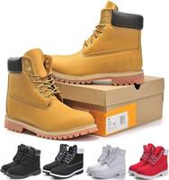 zapatos al aire libre a prueba de agua al por mayor-Hombres de invierno Mujeres Botas al aire libre a prueba de agua Marca Parejas Cuero genuino Botas de nieve Cálido Botas Martin Senderismo Calzado deportivo Corte alto