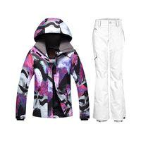 Wholesale Female Ski Jackets - Wholesale- GSOU Winter Women Ski Suit Snow Suit Snowboard Jackets And Pants Warm Ski Jacket Female Sking Set