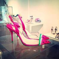 sapatos baixos claras para casamento venda por atacado-Sophia Webster Melancia Mulheres Correias Sandálias De Casamento Sapatos de Salto Alto Design Laides Sapatos Flats Claro remendo PVC Feminino Vestido de Festa Sandália
