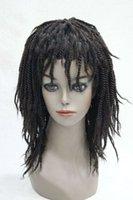 perruque de longueur moyenne brune foncée achat en gros de-Perruque Synthétique Afro Twist Braid Moyenne Longueur Brun foncé