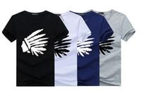 индийская принт хлопок t рубашка оптовых-Indian Head Printed O-Neck Summer Short T-Shirt Large Yard Male Cotton Clothes Loose Fashion Top Tee