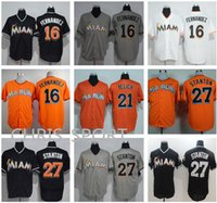 baseball usa venda por atacado-Miami legal base baseball Jerseys # desgaste jogador 16 Jose Fernandez 21 Christian Yelich 27 Mike Stanton Majestic