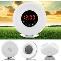 Wholesale colorful radios for sale - Group buy Wake Up Light Sunrise Alarm Clock Colorful LED Night Light Touch Control Natural Sounds FM Radio Snooze Function USB Charger