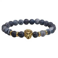 Wholesale tiger eye stretch bracelet - JLN Stone Lion Bracelet Lapis Sodalite Turquoise Tiger Eye Stretched Beads Bracelets For Men Women Jewelry Rope Chain Strand Bracelet