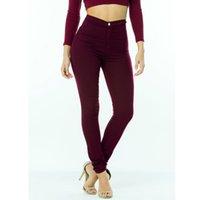 jeans teñidos anudados para mujer al por mayor-Botón Mujer Pantalones vaqueros de mezclilla Pantalones vaqueros elásticos de marca superior Pantalones de cintura alta Mujeres Pantalones vaqueros de cintura alta Femme Medium