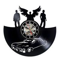 office decor color toptan satış-Supernatural Ontwerp Vinil Kayıt Wandklok Eski Ev Ofis Dekor Handgemaakte Timepiece Oluşturmak (Boyut: 12 inç, Renk: Siyah)