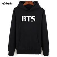 Wholesale winter sweatshirts for women - Aikooki Hot Kpop BTS Sweatshirt Hoodies Men Pullovers Women Hooded Winter Casual K-pop BTS Shirts Cap Jumpers For Male Female