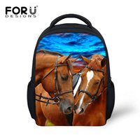 Wholesale Horse School Bags - FORUDESIGNS 12 Inch 3D Animals Printing Backpack For Kids Kindergarten School Bags Baby Mochila Cute Horse Children Backpacks