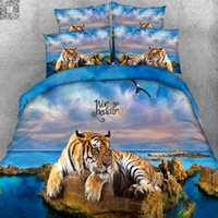 Wholesale Duvet Cover Set Tiger - 3D Bedding Set Tiger HD Digital Reactive Print Bedding Sets High Quality Queen Size With Pillowcase Duvet Cover Bed Sheet 3PCS
