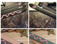 Wholesale Tiger Belt Buckles - Luxury Brand Designer Belts for men Fashion High quality snake tiger bee pattern Black and green Genuine leather buckle belt for women B526