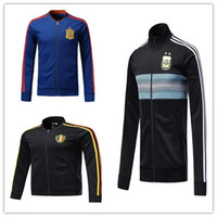 Wholesale Tracksuits Men Soccer - AAA quality 2018 world cup Spain Soccer jacket TRAINING SUIT 2018 Belgium Argentina soccer jacket kit Italy TRACKSUIT SPORTSWEAR