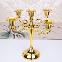 candelabro de metal artesanía al por mayor-Los titulares de metal de vela 5 armas / 3-brazos soporte de la vela decoración de la boda de la pieza central de los candelabros de velas Decoración Artesanía de plata / oro / bronce