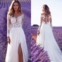 Wholesale Sheer Thigh Highs - 2018 Summer Beach Milla Novia High Side Split Wedding Dresses Lace Sheer Neck A-line Sweep Train Chiffon Wedding Bridal Gowns Custom Made