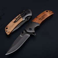 Wholesale titanium edc tools for sale - Browning Flipper Folding Pocket knife Titanium Plating Blade Top Quality Tactical Rescue Knives Wood Handle EDC Tools P610Q