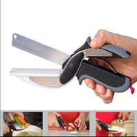 ciseaux à coupe multiple achat en gros de-Cuisine Ciseaux Couteau Clever Cutter 2 En 1 Acier Inoxydable Multi-Fonction Végétal Légumes Cutter Cuisine Cisaille avec Planche À Découper