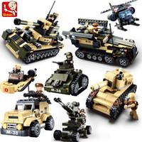 ensembles de jouets de l'armée achat en gros de-Sluban DIY eductional 8 en 1 Blocs de Construction Ensembles Militaire Armée Enfants pour enfants Jouets Cadeaux De Noël compatibles avec legoe