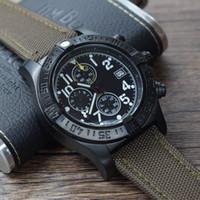 relojes verde del ejército al por mayor-Nuevos relojes de pulsera deportivos SUPER AVENGER para hombres Concha de acero negro Correa de nailon verde del ejército Cronógrafo de cuarzo