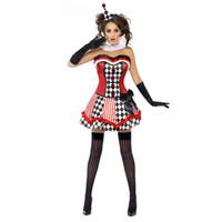 d1df1f18e New Halloween Mulheres Meninas Engraçado Palhaço de Palhaço de Circo Palhaço  de Circo Cosplay Fantasia Vestido de Halloween Traje Cosplay Mulher sexy