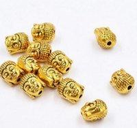 buda para hacer joyas al por mayor-100 unids / lote chapado en oro Buddha Head Spacer Beads Charms para la joyería de DIY que hace 10x8mm