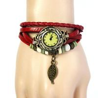 pulseira de couro para homens venda por atacado-Nova Moda 1 PC Womens Pulseira Relógio Do Vintage Weave Envoltório de Quartzo Relógio Mens Clássico Folha De Couro Contas Relógios de Pulso Reloj # Ni