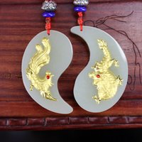 Wholesale dragon pendant gold jade for sale - Group buy Fashion Design Men Women Necklace Pendant Dragon and Phoenix pair Gold White Hetian Jade Lucky Pendants Top Quality