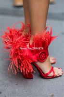 vestido rosa satinado zapatos negros al por mayor-Nuevas mujeres del dedo del pie abierto satén rojo negro rosa grueso sandalias de plumas de tacón de tobillo Wrap gruesas sandalias de tacón alto zapatos de vestir