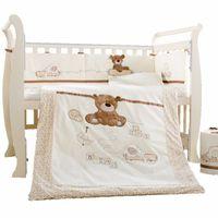 beşik çarşafları toptan satış-Bebek Karyolası Yatak Seti 7 Adet Pamuk Yatağı Yatak seti Ayrılabilir Yorgan Yastık Tamponlar Sac Çarşaf Karyolası yatak seti