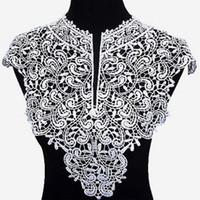 dantel düzeltme yaması toptan satış-Yamalar için kumaş yaka Trim Boyun Çizgisi Aplike elbise / düğün / gömlek / giyim / DIY / Dikiş çiçek Çiçek İşlemeli dantel standı