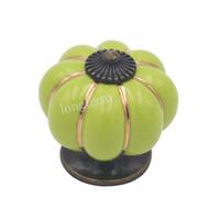 ручки тыквенного ящика оптовых-Красивые яблоко agreen керамические тыквы кабинет тянуть ручку сплава цинка античная латунь кухня ящик ручки 12 шт.