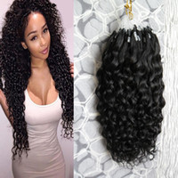 Curly Per Strand 100 Gram Per Natural Color Micro Loop Ring Extensions Color Remy Hair Pre Bonded