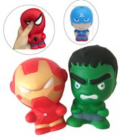 Wholesale phone charms characters - Squishy Cartoon Character iron Man Spiderman Slow rising Simulation Squishies Perfume Phone Charms Phone Straps Free
