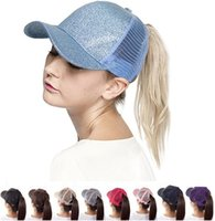 Wholesale Wholesale Sun Hats - 9 Colors CC Glitter Ponytail Ball Cap Messy Buns Trucker Ponycaps Plain Baseball Visor Cap CC Glitter Ponytail Snapbacks X094