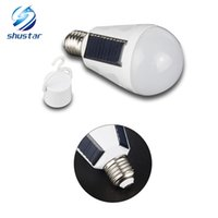 Wholesale solar energy saving bulbs for sale - E27 W W Solar Lamp V Energy Saving Light LED Intelligent Lamp Rechargeable Solar Emergency Bulb Daylight