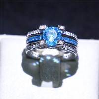 Fashion White Gold Filled Wedding Couple Rings Solitaire Aquamarine Simulated Diamond CZ Finger Rings for Bride Unique Gift Size5-10