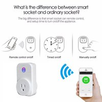 Wholesale single piece Wifi Smart Plug Home Automation Phone App Timing Switch Remote Control V Wifi Socket Working with Alexa and Google